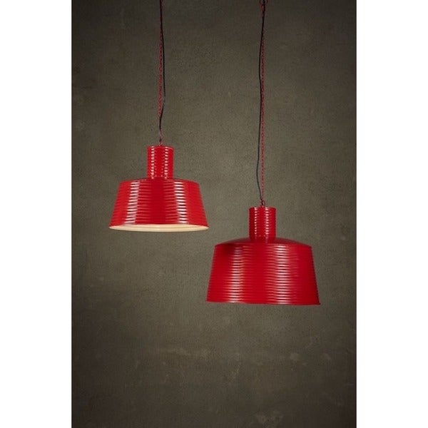 Red Metal Large Ribbed Pendant Light 21244817