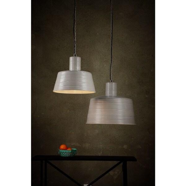 Horizon Warm Grey Powder-coated Corrugated Iron Large Ribbed Pendant Light