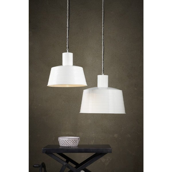 Large Metal Ribbed White Pendant Light