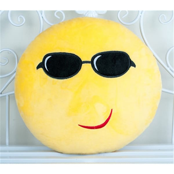 BH Toys QQ Emoji Expression Cool Sunglasses Emoji Face Yellow Polypropylene Cotton 22-inch Large Plush Pillow