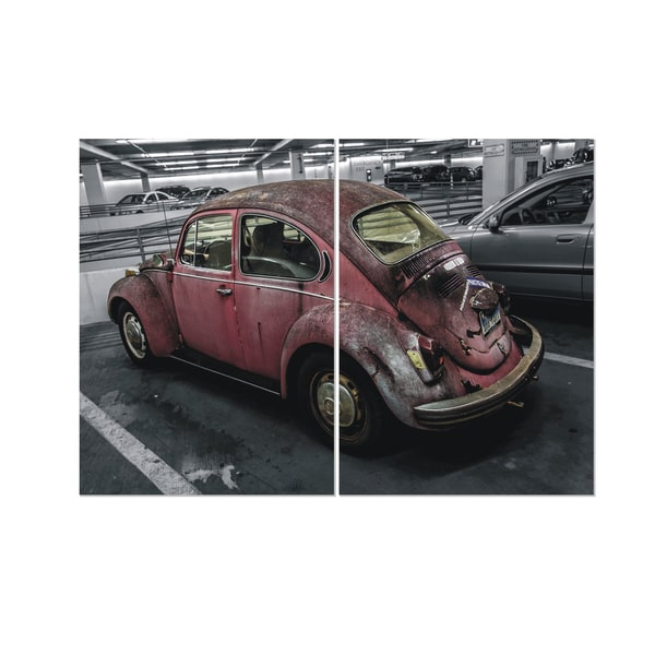 Furinno 'Seni Retro Car' 2-panel MDF Framed Photography Triptych Print