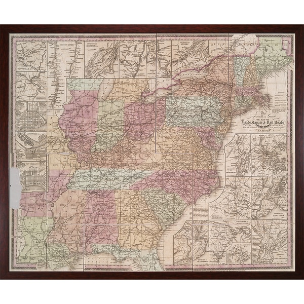 Vintage Collection 'Early United States' Framed High Quality Print on Canvas 21245583