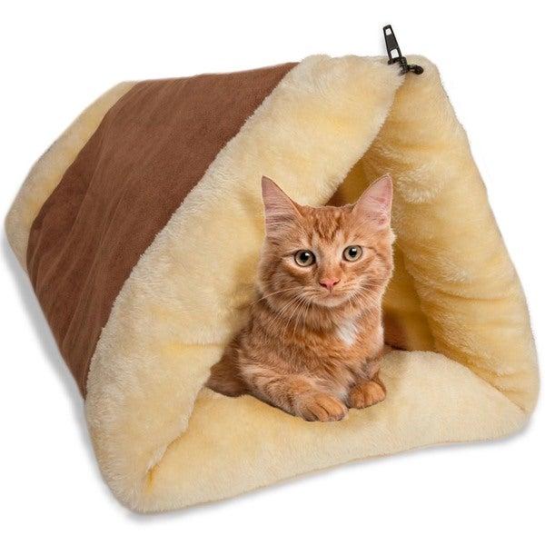 OxGord Beige/Brown Fleece 2-in-1 Cat Pet Bed Tunnel