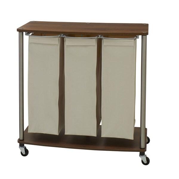 Household Essentials Medium Walnut Fabric/Plastic/Metal Rolling 3-bag Laundry Sorter Cart
