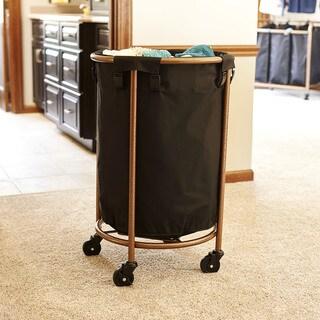 Copper and Black Round Laundry Hamper
