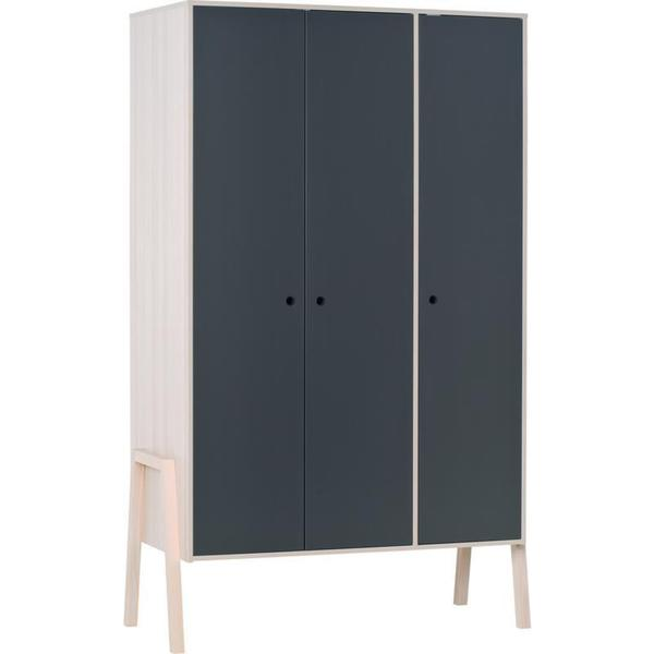 Voelkel Spot Collection Black Wood Graphite Facade Design Three-door LED Lighting Wardrobe