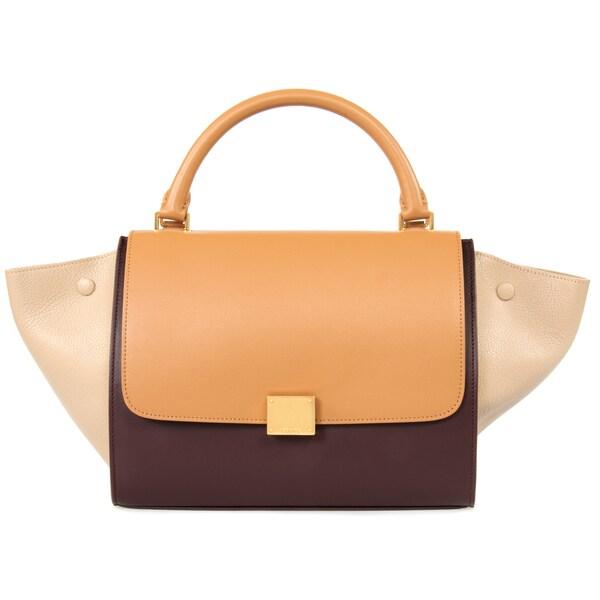 Celine Trapeze Burgundy/Dune/Gold Calfskin w/Gold Hardware Handbag