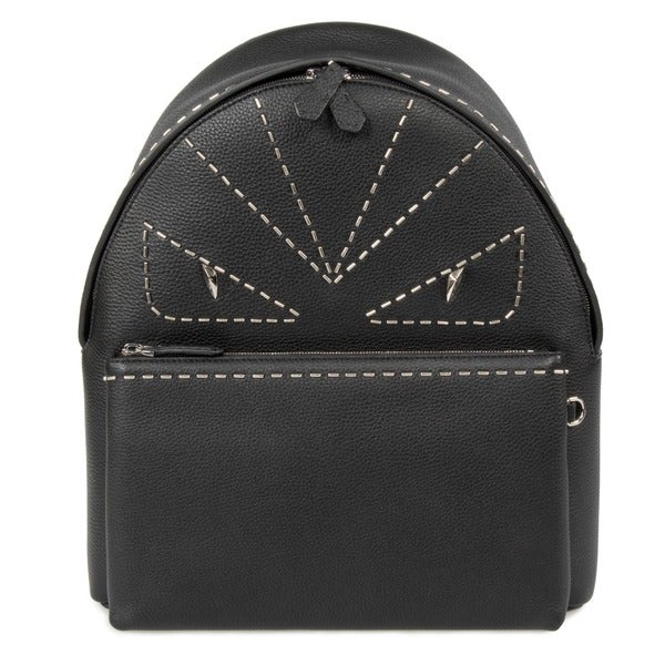 Fendi Buggies Black Grained Leather Backpack