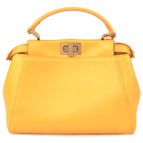 Fendi Peekaboo Honey w/ Gold Hardware Mini Satchel Handbag