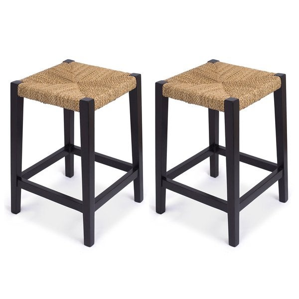 BirdRock Home Mahogany Rush Weave Backless Counter Stool