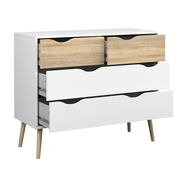 Diana White Oak Wood 4-Drawer Chest