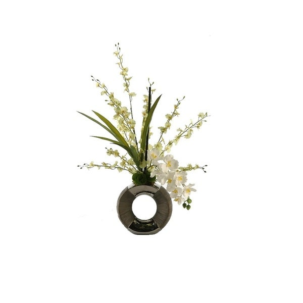 D&W Silks Pale Green Dancing Orchid with White Vanda Orchids in Silver and Gun Metal Circle Planter
