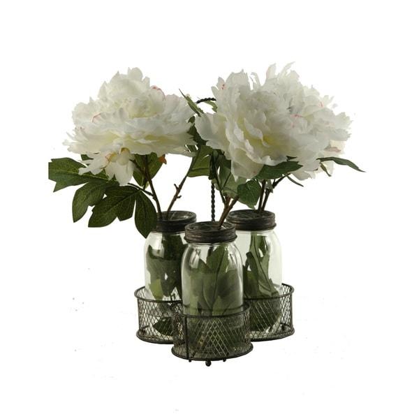 D&W Silks Cream/Pink Peonies in Glass Jars in Metal Holder 21247025