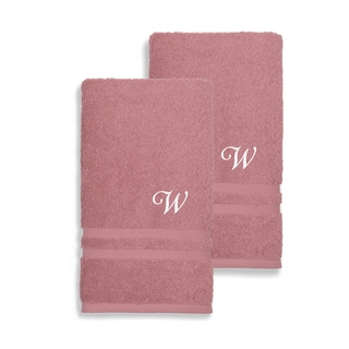 Authentic Hotel and Spa Omni Turkish Cotton Terry Set of 2 Tea Rose Hand Towels with White Script Monogrammed Initial