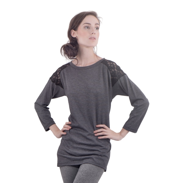 Bluberry Denim Women's Charcoal Grey Spandex/Rayong Lace Insert Top