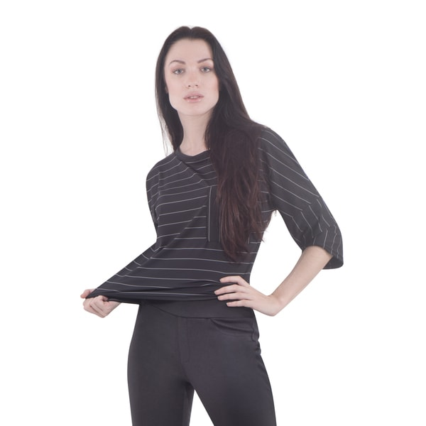 Bluberry Women's Meridian Black/Grey Nylon-blend Striped Crop Top