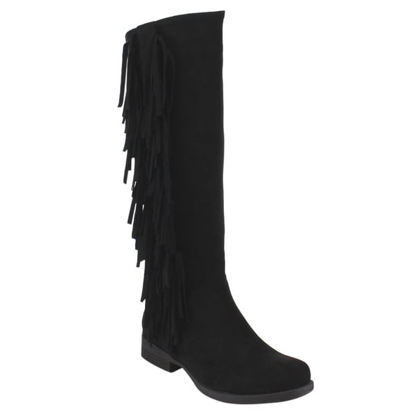 Via Pinky ED89 Women's Tan/Black/Brown Faux Suede Side Fringe Stacked Low-heel Knee-high Boots