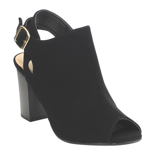 Top Moda ED62 Women's High Stacked Heel Open-back Ankle-strap Booties