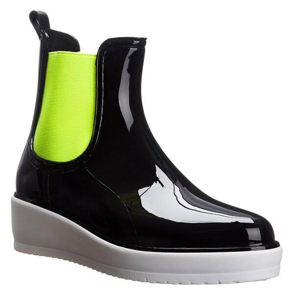 QUPID FE53 Women's Pull On Chelsea Platform Wedge Rain Boots