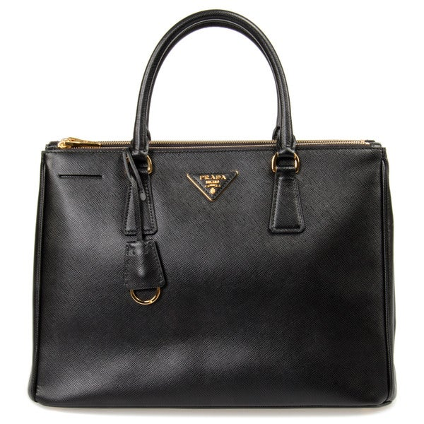 Prada Galleria Small Black w/Gold Hardware Saffiano Leather Tote Bag