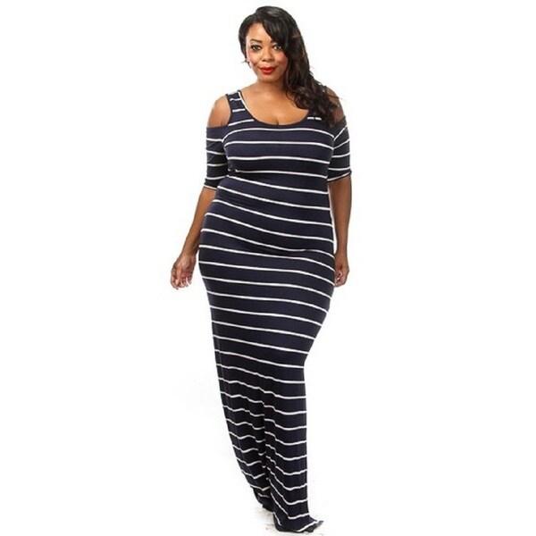 A Plus Style Women's Cold-shoulder Striped Maxi Dress