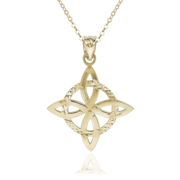 14k Yellow Gold 16-inch Triquetra Celtic Knot Pendant Necklace