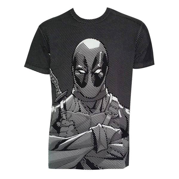 Deadpool Halftone Stripe Print T-Shirt