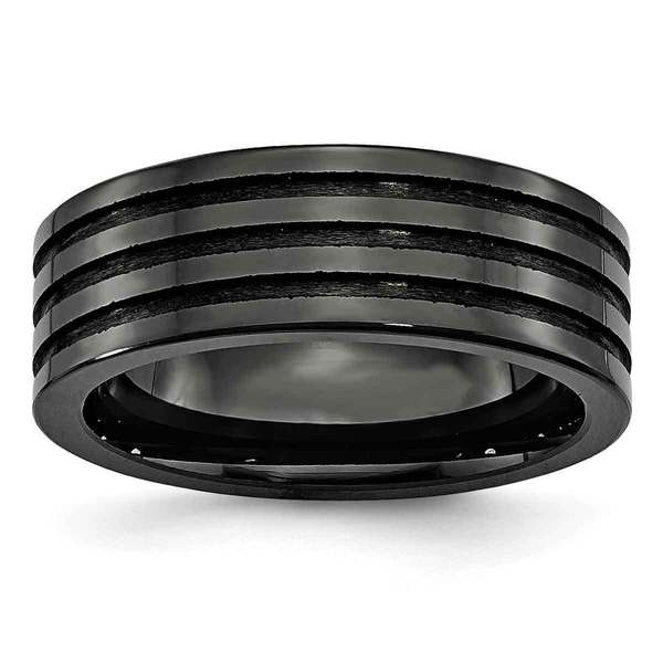 Ceramic Black Grooved 8mm Polished Band