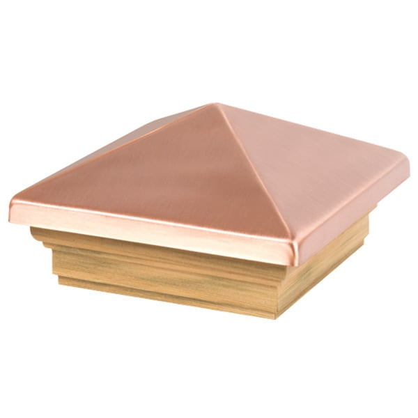 "Waddell 220 4"" X 4"" Pine Base With Copper Pyramid Cap Post Cap"