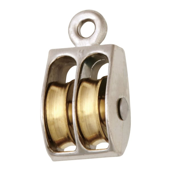 """Campbell T7655212 1"""" Nickel Rigid Eye Double Sheave Pulley"""