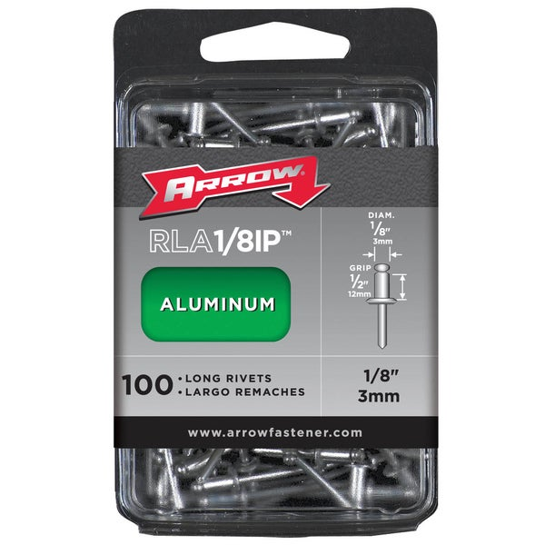 "Arrow Fastener RLA1/8IP 1/8"" Long Aluminum Rivets 100-ct"