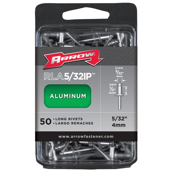 "Arrow Fastener RLA5/32IP 5/32"" Long Aluminum Rivets 50-ct"