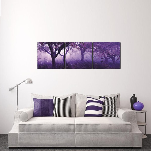 Furinno 'Purple Trees' 60-inch x 20-inch 3-Panel Canvas on Wood Frame