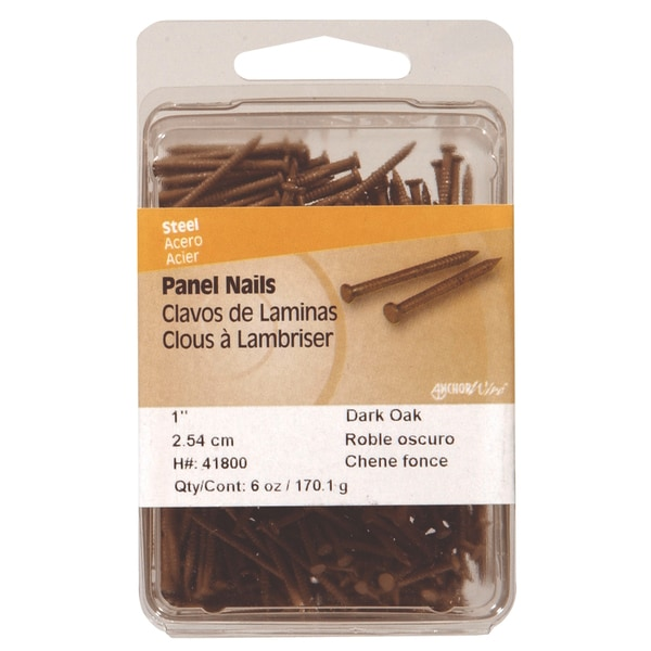 "Philstone 41800 6 Oz 1"" Dark Oak Colored Interior Panel Nails"