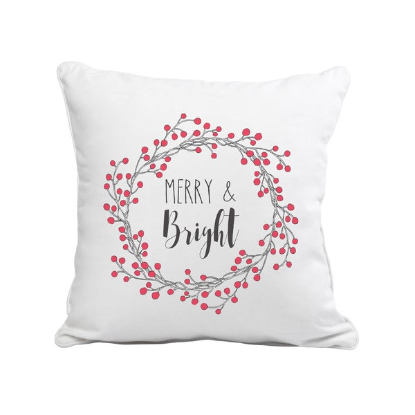 Merry & Bright White/Red/Black Canvas/Cotton/Polyester 12-inch Throw Pillow