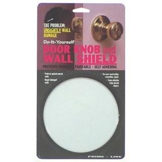 "Prime Line U9244 5"" White Door Knob & Wall Shield"
