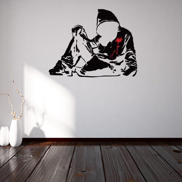 Banksy 'Bloody Hoodie With Knife' Vinyl Sticker/Mural/Wall Decal Home Art Decor 21267458