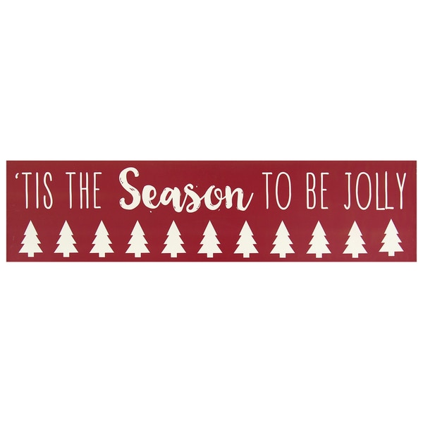 Stratton Home 'Tis the Season To Be Jolly' Red/White Wood Wall Art