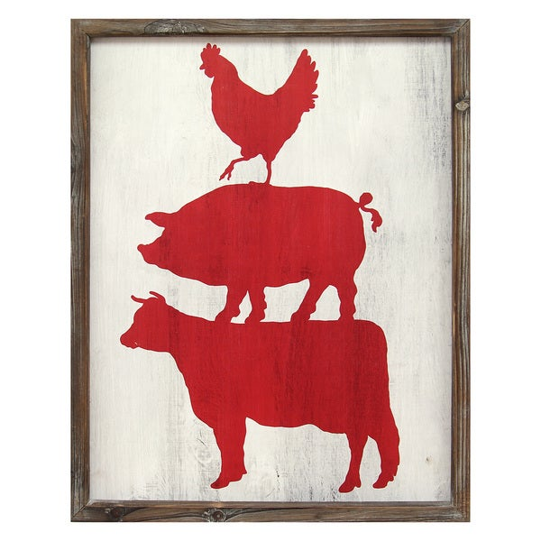 Stratton Home Decor Cow, Pig, and Rooster Wall Art