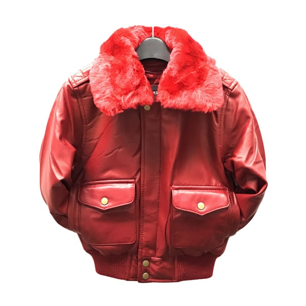 Maverick Kid's Red Leather Pilot Bomber Jacket 21269585