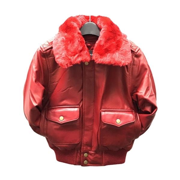 Maverick Kid's Red Leather Pilot Bomber Jacket 21269587
