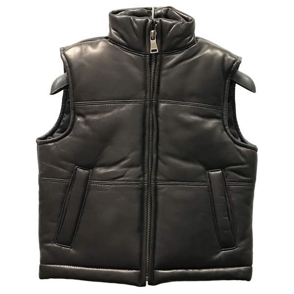 Kids' Black Leather Padded Vest