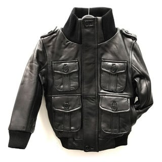 Taylor Kid's Black Leather Jacket
