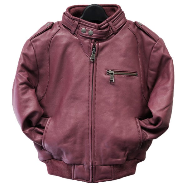 Kids' Burgundy Leather Moto Bomber