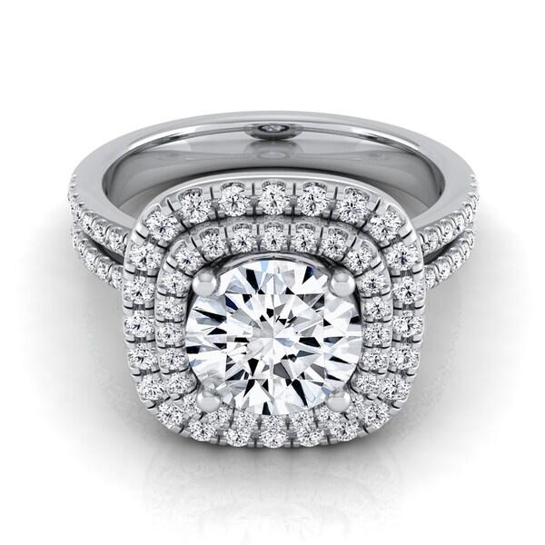 14k White Gold 1 2/5ct TDW Round Diamond Double Entourage 2-row Shank Engagement Ring (H-I, VS1-VS2)