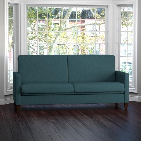 Portfolio Samuel Caribbean Blue Linen Convert-a-Couch Futon Sleeper Sofa