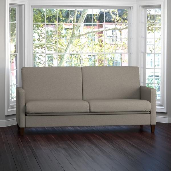 Portfolio Samuel Taupe Linen Convert-a-Couch Futon Sleeper Sofa