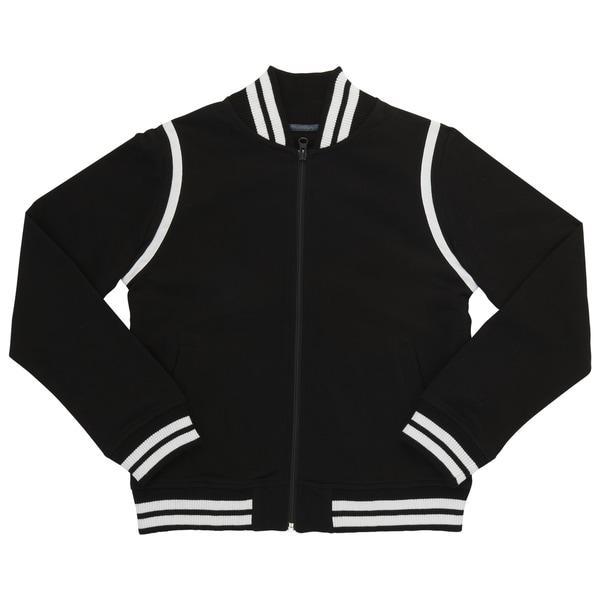 French Toast Boy's Black Polyester/Cotton Varsity Bomber Jacket