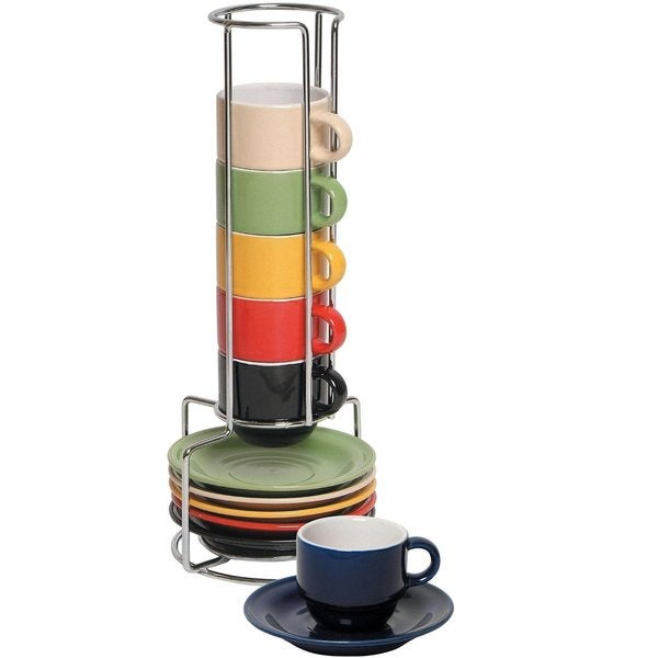 Imperial Home Multicolor Ceramic Espresso Cups and Saucers Set