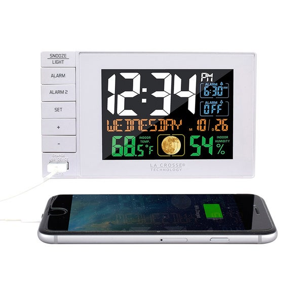 La Crosse Technology C87061 White USB Charging Dual Alarm Clock